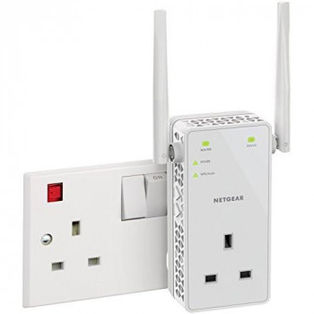 NETGEAR EX6130-100UKS AC1200 Dual Band Gigabit 802.11ac (300 Mbps + 900 Mbps) Wi-Fi Range Extender with External Antennas and Extra Power Outlet (Wi-Fi Booster)