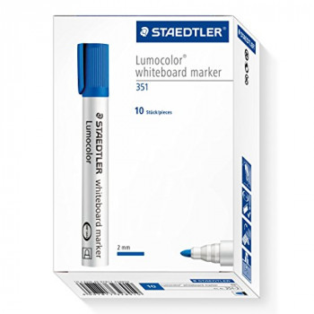 Staedtler Lumocolor Whiteboard Marker 351-3 with Bullet Tip - Blue, Pack of 10