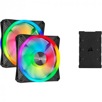 Corsair iCUE QL140 RGB, 140 mm RGB LED PWM Fans (68 Individually Addressable RGB LEDs, Speeds Up to 1,250 RPM, Low-Noise) Dual Pack with iCUE Lighting Node CORE Included - Black