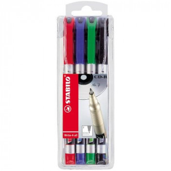 Stabilo Write-4-all Permanent Marker Pen Waterproof 0.7mm Line Assorted Ref 156-4 [Wallet 4]