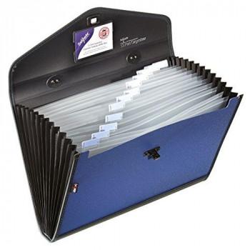 Snopake 13521 Expanding Polypropylene File Organiser Foolscap, 13 Part - Blue/Black