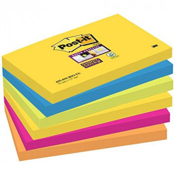 Post-it 76 x 127 mm Super Sticky Notes Pads - Rio (Pack of 6)