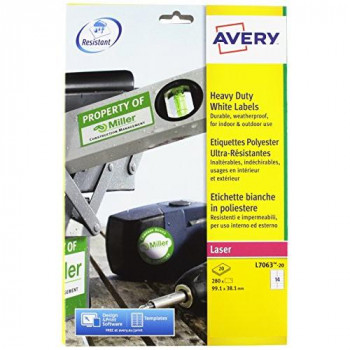 Avery L7063-20 Heavy Duty Weatherproof Labels for Laser Printers (99.1 x 38.1 mm Labels, 14 Labels Per A4 Sheet, 20 Sheets)