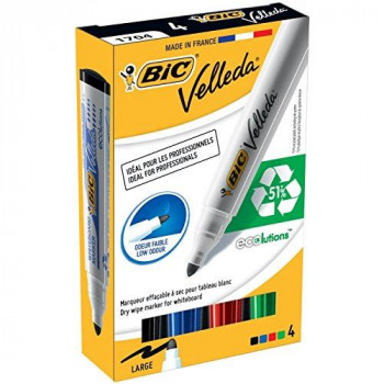 BIC Velleda 1701 ECOlutions Whiteboard Markers Assorted Colours, Pack of 4