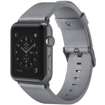 Belkin Classic Leather Apple Watch Strap for 42 mm Apple Watch Series 1 and 2, Made from Genuine Italian Leather - Grey