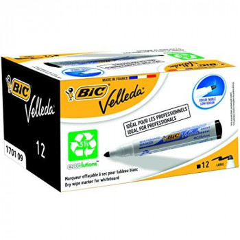 BIC VELLEDA WhiteBoard 1701 Bullet Marker 1.5mm Box of 12 - Black