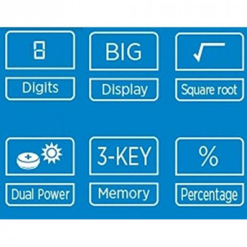 Genie 12492 Compact Pocket Calculator with 8 Digit Display - Blue