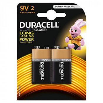 Duracell Plus Power Type 9V Alkaline Batteries, pack of 2