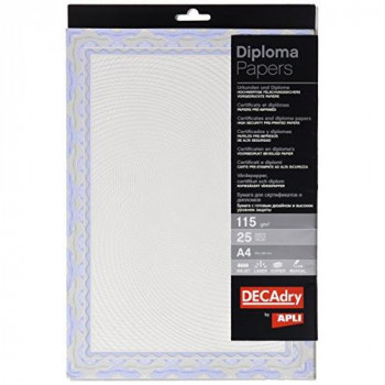 Decadry A4 Spiral Certificate Paper - Blue (Pack of 25)