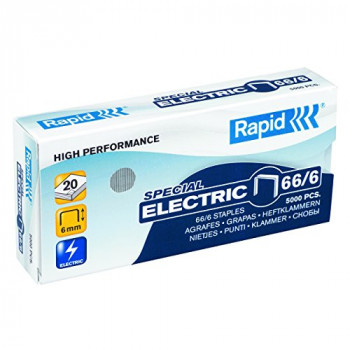 Rapid 24867800 66/6 Strong Staples, Robust Galvanised Wire, 6 mm Leg Length, 20 Sheets, Pack of 5000