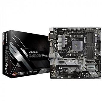 Asrock B450M PRO4 AMD B450 AM4 Micro ATX 4 DDR4 XFire VGA DVI HDMI M.2