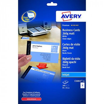 Avery C32015-25 Double Side Printable Business Cards with Matt Finish, 260 gsm for Inkjet Printers (85 x 54 mm Cards, 8 Cards per A4 Sheet, 25 Sheets per Pack) - Bright White