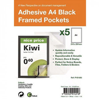 Pelltech P181565 A4 Self Adhesive Display Frame with Magnetic Closure - Black (Pack of 5)