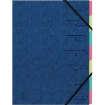 Exacompta 54072E Index File Manila Cardboard 400 g Tacked with 7 Parts and Elastic Strap Format DIN A4 Blue