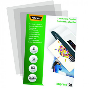Fellowes 5351111 Impress A4 100 Micron Glossy Laminating Pouches (Pack of 100)