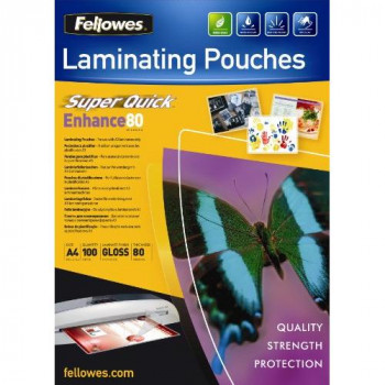 Fellowes Enhance A4 80 Micron Super Quick Glossy Laminating Pouches (Pack of 100)