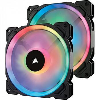 Corsair CO-9050074-WW LL140 RGB Dual Light Loop RGB LED PWM Fan 2 Fan Pack with Lighting Node PRO, 140 mm