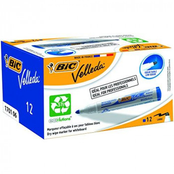BIC VELLEDA WhiteBoard 1701 Bullet Marker 1.5mm Box of 12 - Blue