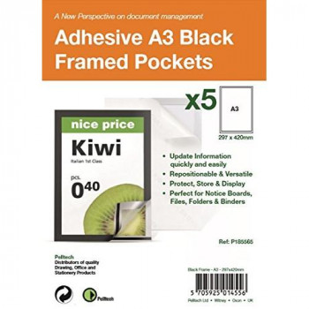 Pelltech P185565 A3 Self Adhesive Display Frame with Magnetic Closure - Black (Pack of 5)