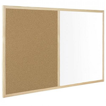 Bi-Office Budget Wood Frame Combo Board 90x60cm