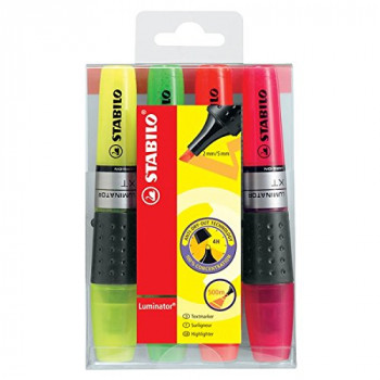 STABILO Luminator Highlighter - Assorted Colours, Wallet of 4