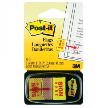 Post-it 25mm x 43.2mm Index Sign Here Flags (50 Sheets)