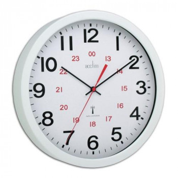 Acctim Wall Clock Radio Controlled 30cm Wht 74172