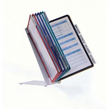 Durable 557000 Vario Desk Display Unit for A4 Size Documents, Complete with 10 Tabs and 10 Panels - Assorted Colours