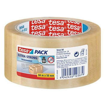 tesa Packing Tape Extra Strong PVC Packaging Tape for Heavy Parcels and Boxes 66 m x 50 mm - Clear, Pack of 6