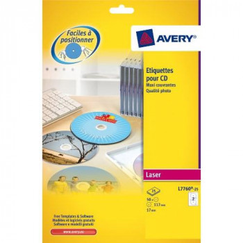 Avery L7760-25 Glossy Full Face CD Labels for Laser Printers (117 mm Dia Labels, 2 Labels Per A4 Sheet, 25 Sheets)- White
