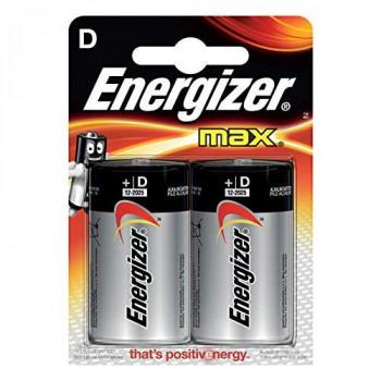 Energizer MAX Alkaline D Batteries, 2 Pack - Black, silver
