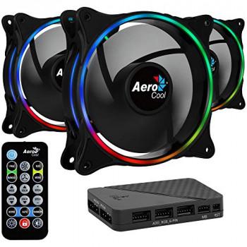 Lot de 3 Ventilateurs de boitier AeroCool Eclipse 12 Pro RGB 12cm (Noir)