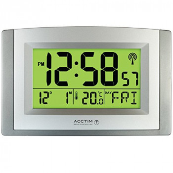 Acctim Stratus Smartlite Wall/Desk Clock, Silver
