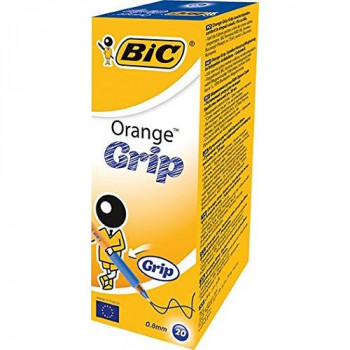 BIC Orange Grip Ball Pen Translucent Barrel 0.8mm Tip 0.2mm Line Blue Ref 811926 [Pack of 20]