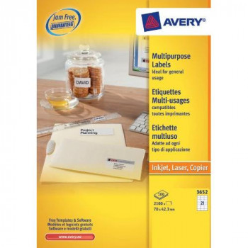 Avery 3652 Multipurpose Labels with A4 Sheets (70 x 42.3 mm Labels, 21 Labels Per Sheet, 100 Sheets) - White
