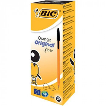BIC Orange Original Fine Ballpoint Pen - Black, Pack of 20