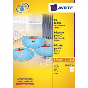 Avery L7760-25 Glossy Full Face CD Labels for Laser Printers (117 mm Diameter Labels, 2 Labels per A4 Sheet, 25 Sheets) - White
