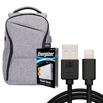 Energizer EPB005 Laptop Charging Bag with UE10004QC Power Bank - Grey