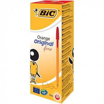 BIC Orange Original Fine Ballpoint Pen - Red, Pack of 20