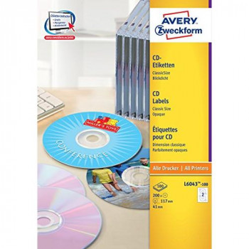 Avery L6043-100 Classic CD Labels (A4 Sheets of Round 117 mm, 2 Labels Per Sheet, 100 Sheets) - White