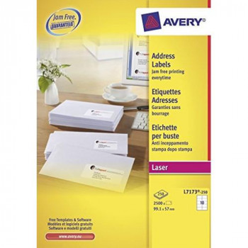 Avery L7173-250 Address Labels for Laser Printers (99.1 x 57.0 mm Labels, 10 Labels per A4 Sheet, 250 Sheets) - White