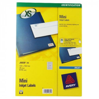 Avery J8659-25 Mini Labels for Inkjet Printers (17.8 x 10 mm Labels, 270 Labels Per A4 Sheet, 25 Sheets) - White