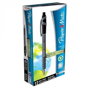 PaperMate Flexgrip Ultra Ball Pen with Medium Tip 1.0 mm - Black Ink, Pack of 12