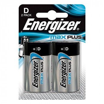 Energizer E301323900 Max Plus D Pack of 2 Chrome