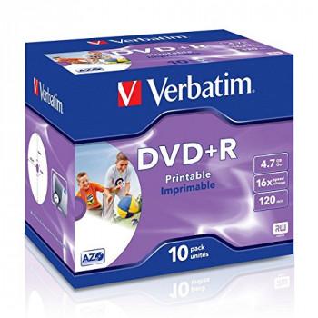 Verbatim 43508 16x Printable DVD+R - Jewel Cased 10 Pack