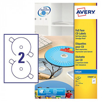 Avery C9660-25 Self-Adhesive Glossy Full Face CD Labels, 2 Labels Per A4 Sheet,White