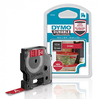 DYMO D1 Durable Labeling Tape for LabelManager Label Makers, White Print on Red Tape, 12 mm W x 3 m L, 1 Cartridge (1978366)