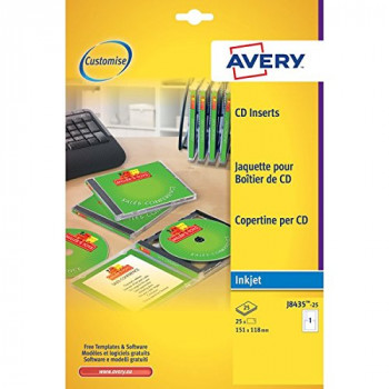 Avery J8435-25 Printable CD Case Cover, Spine and Tray Inserts A4, 1 Full Set per Sheet, 25 Sheets - White