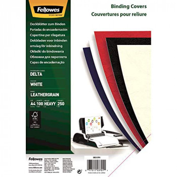 Fellowes A4 100 Percent Recyclable Leatherboard Binding Covers, Heavyweight, 250 gsm Presentation Covers, FSC, White, Pack of 100