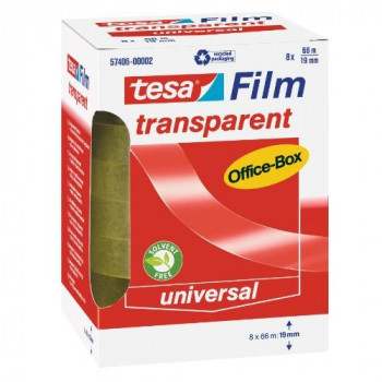 tesafilm Silent Clear Adhesive Tape for use at Home, Office or School, 8 Rolls 66 m x 19 mm